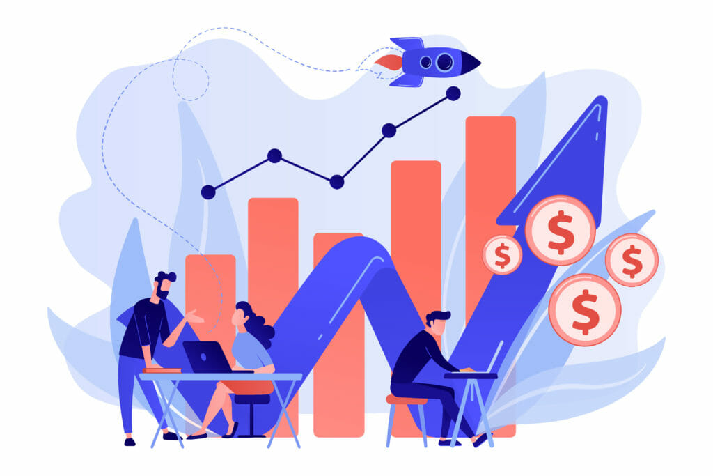 Sales Managers With Laptops And Growth Chart. Sales Growth And Manager, Accounting, Sales Promotion And Operations Concept On White Background. Living Coral Blue Vector Isolated Illustration